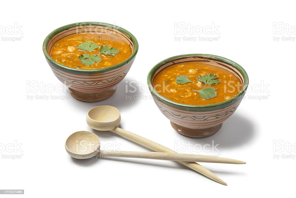Moroccan harira soup in traditional bowls royalty-free stock photo