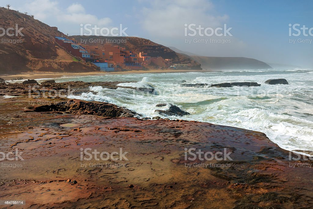 Moroccan Hotels in Sidi Ifni, Legzira  on Atlantic Coast Africa stock photo