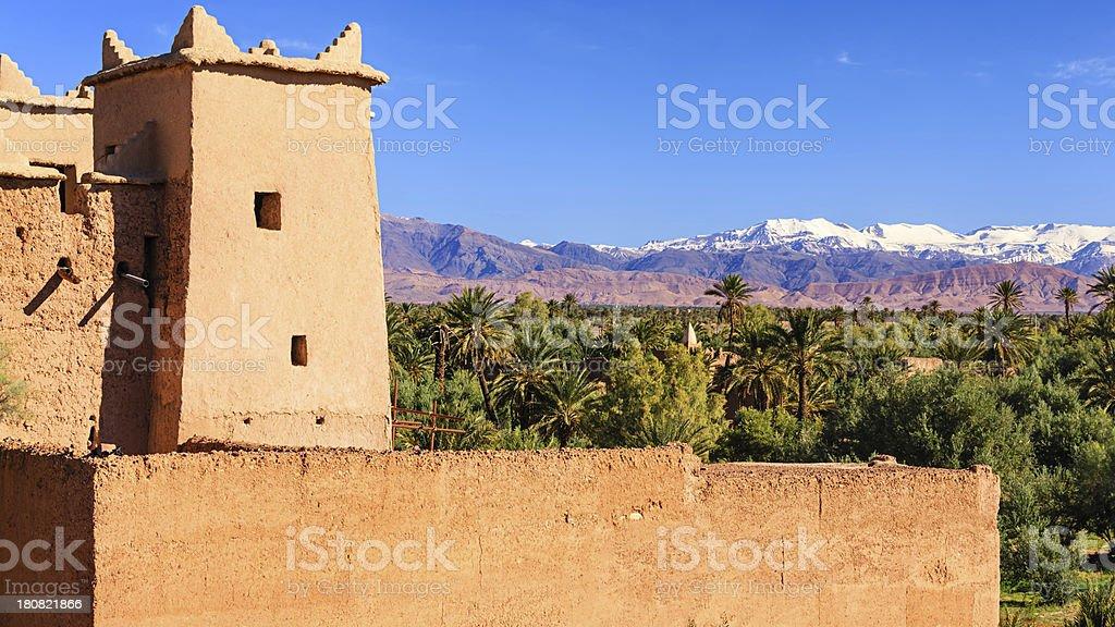 Moroccan Kasbah, High Atlas mouintain range stock photo