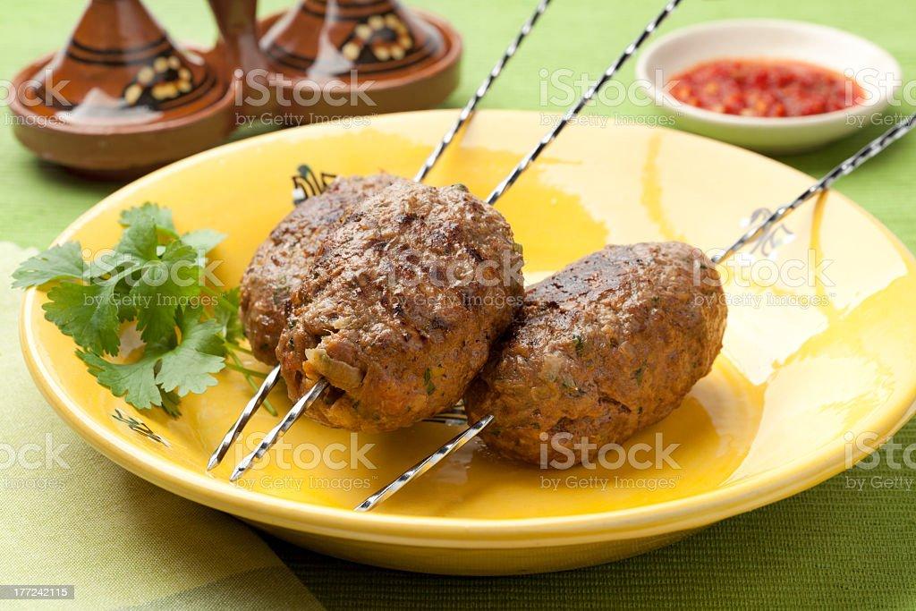Moroccan kefta kebab stock photo