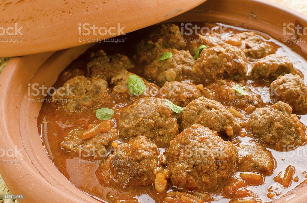 Moroccan kefta tagine stock photo