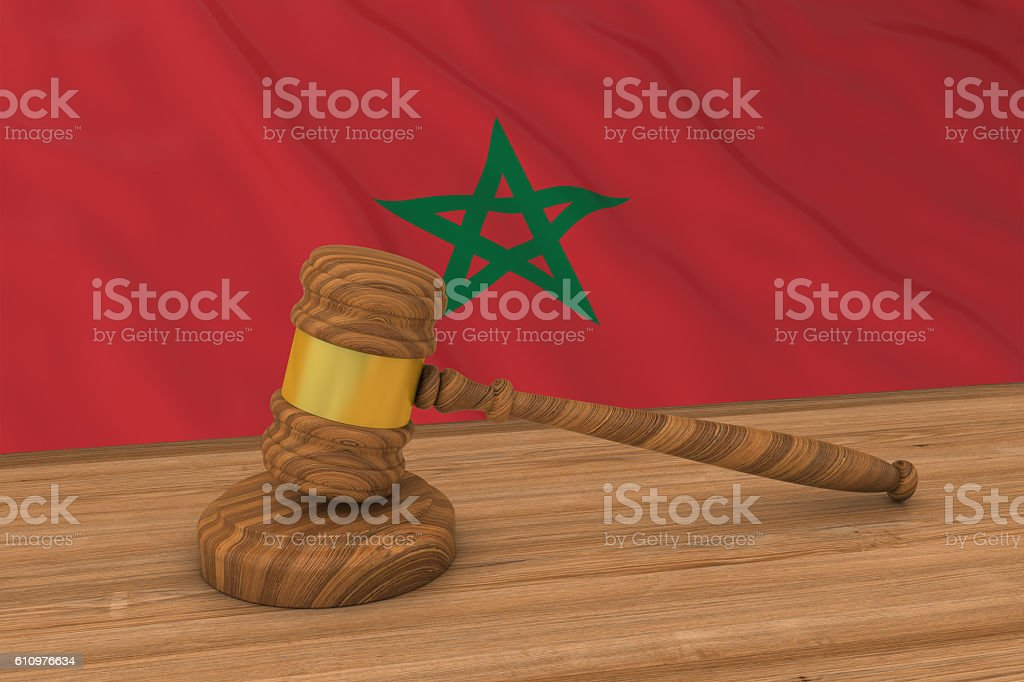 Moroccan Law Concept - Flag of Morocco Behind Judge's Gavel stock photo