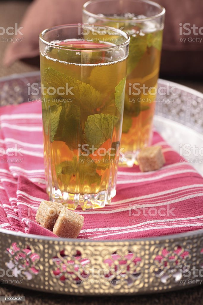 Moroccan mint tea on a tray royalty-free stock photo