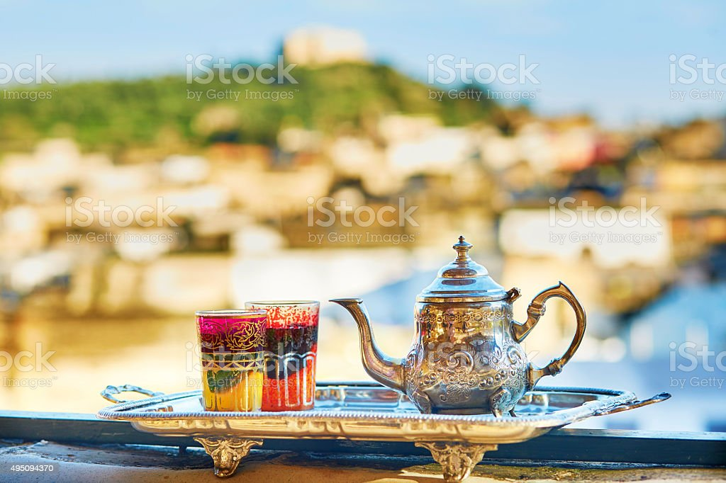 Moroccan mint tea with sweets stock photo