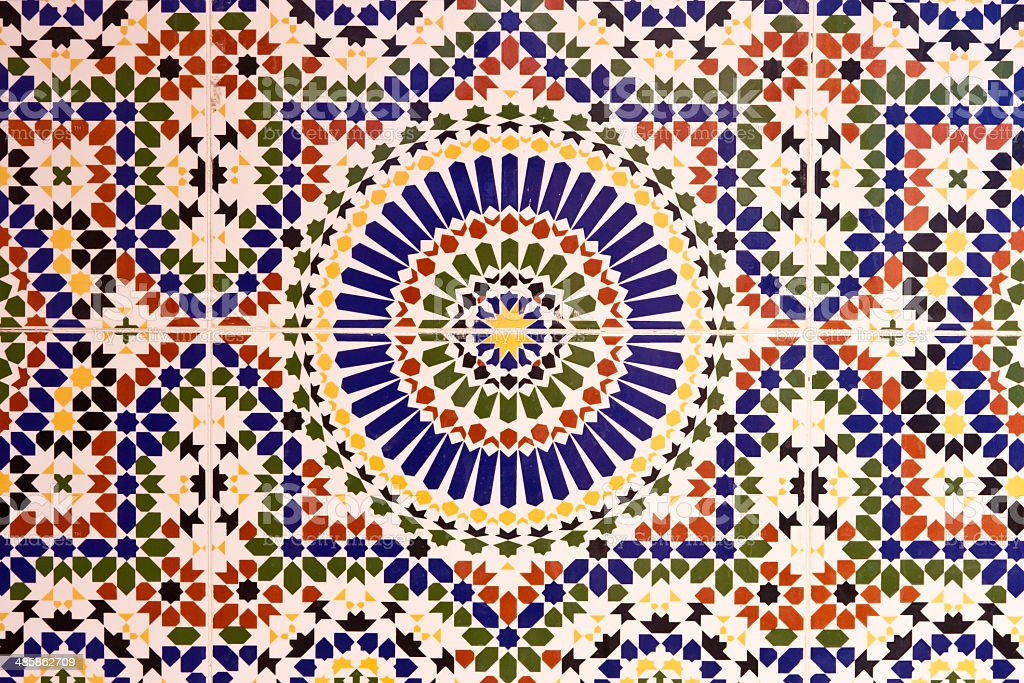 Moroccan mosaic at a Mosque in Marrakech stock photo