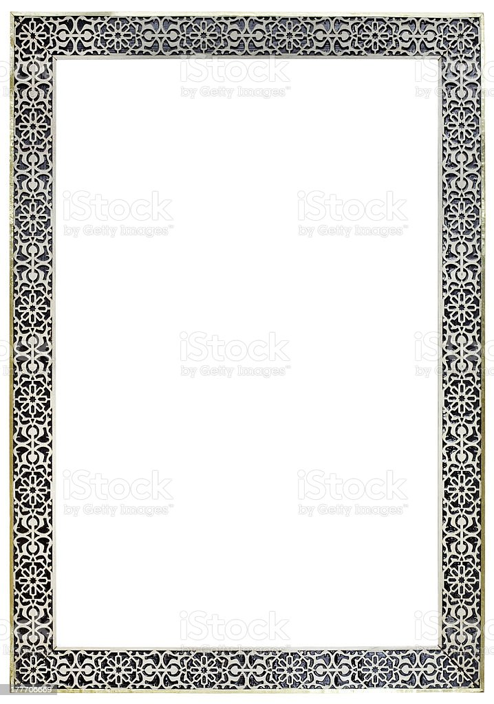 Moroccan Pewter Mirror Frame stock photo