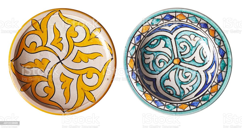 moroccan plates stock photo