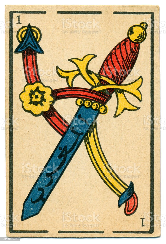 Moroccan playing card baraja 1890 Ace of Spades Espadas Swords stock photo