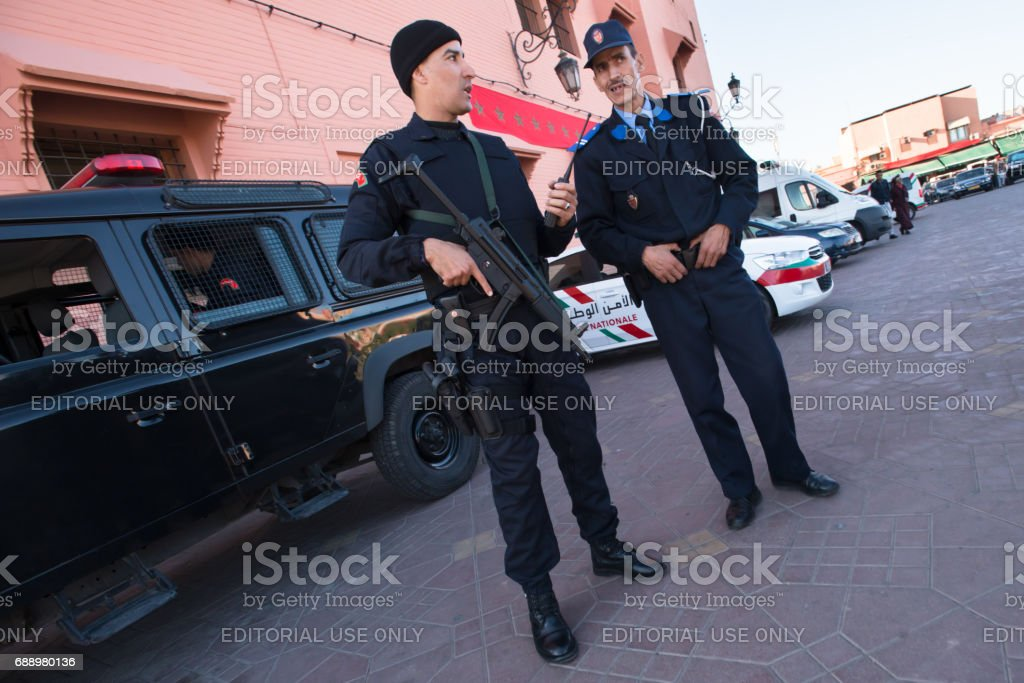 Moroccan police with gun stock photo