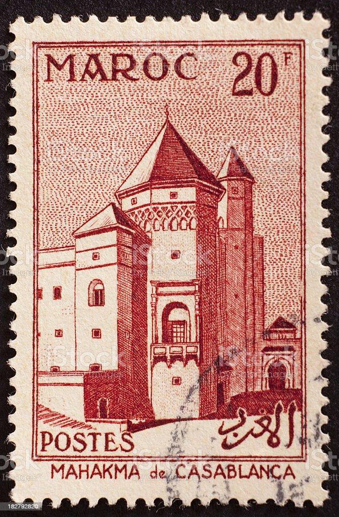 Moroccan postage stamp royalty-free stock photo