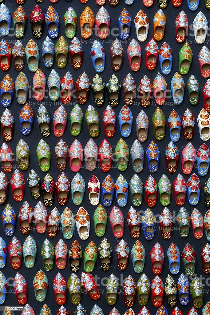 Moroccan shoes souvenirs royalty-free stock photo