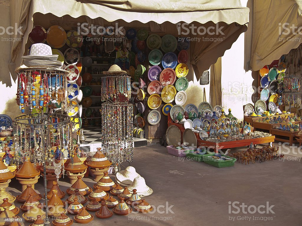 Moroccan shop with souvenirs stock photo