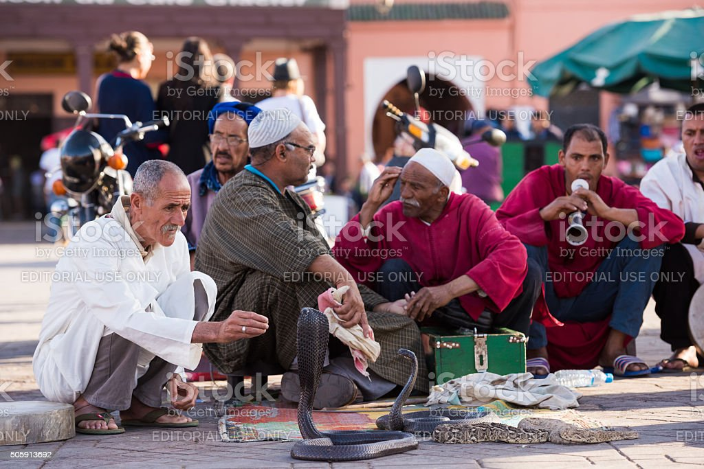 Moroccan snake charmers in Marrakech stock photo
