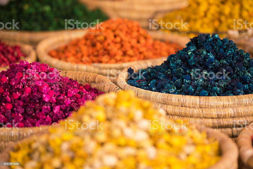 Moroccan Spice Market in the Medina stock photo