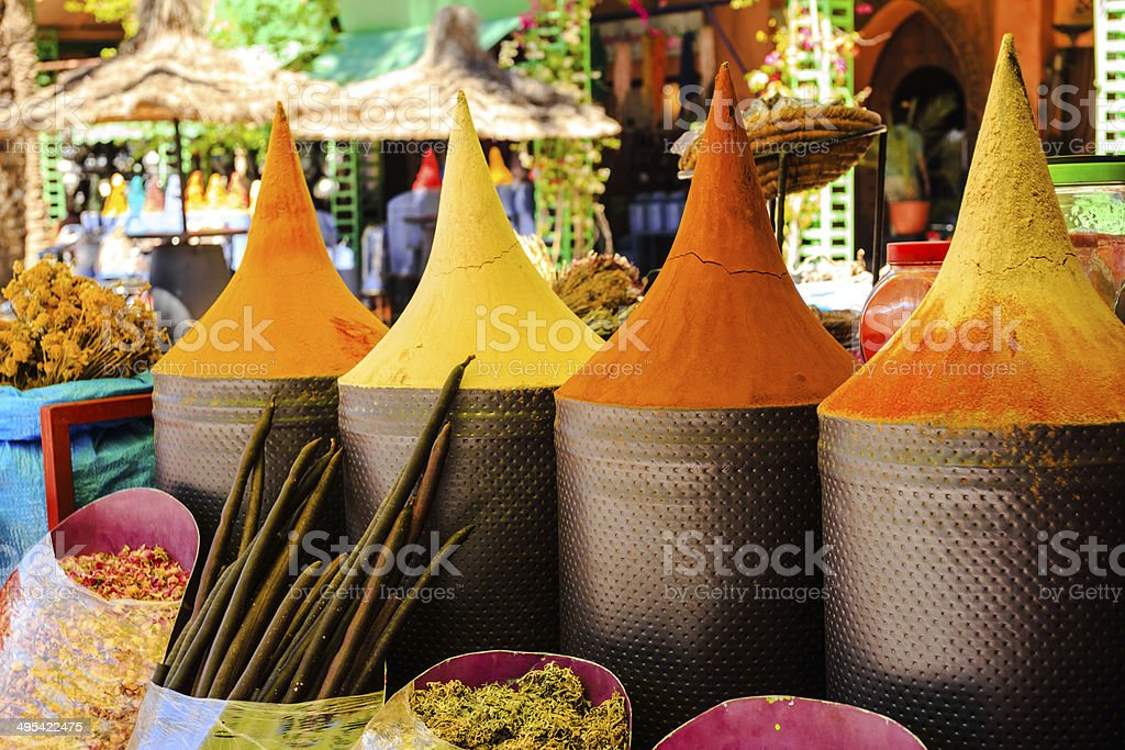 Moroccan spice stall in marrakech market stock photo