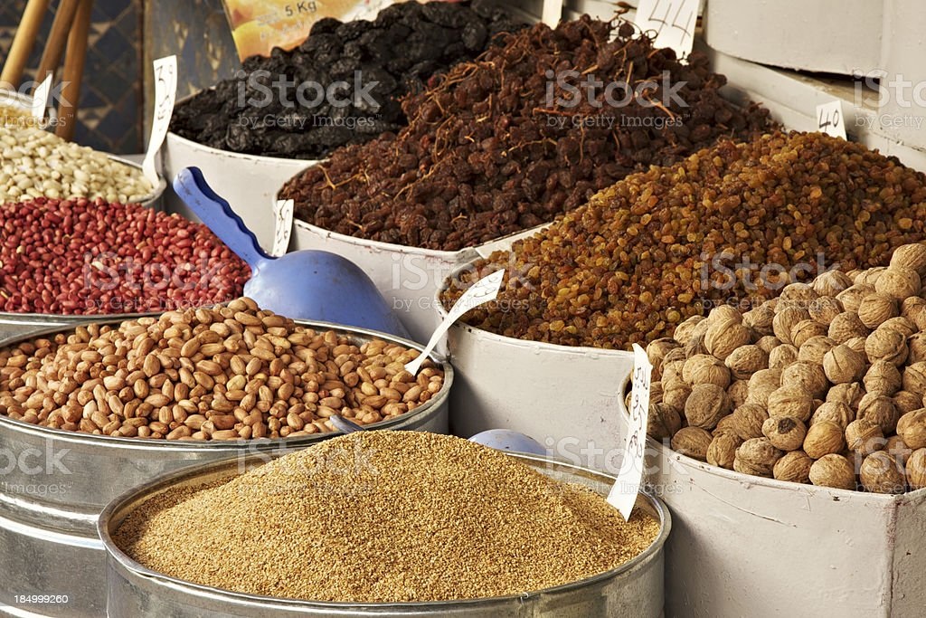 Moroccan spices market in Fez royalty-free stock photo
