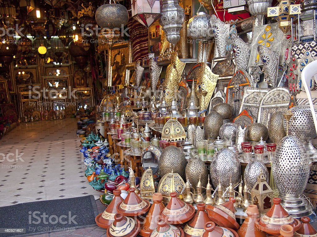 Moroccan store with iron products stock photo