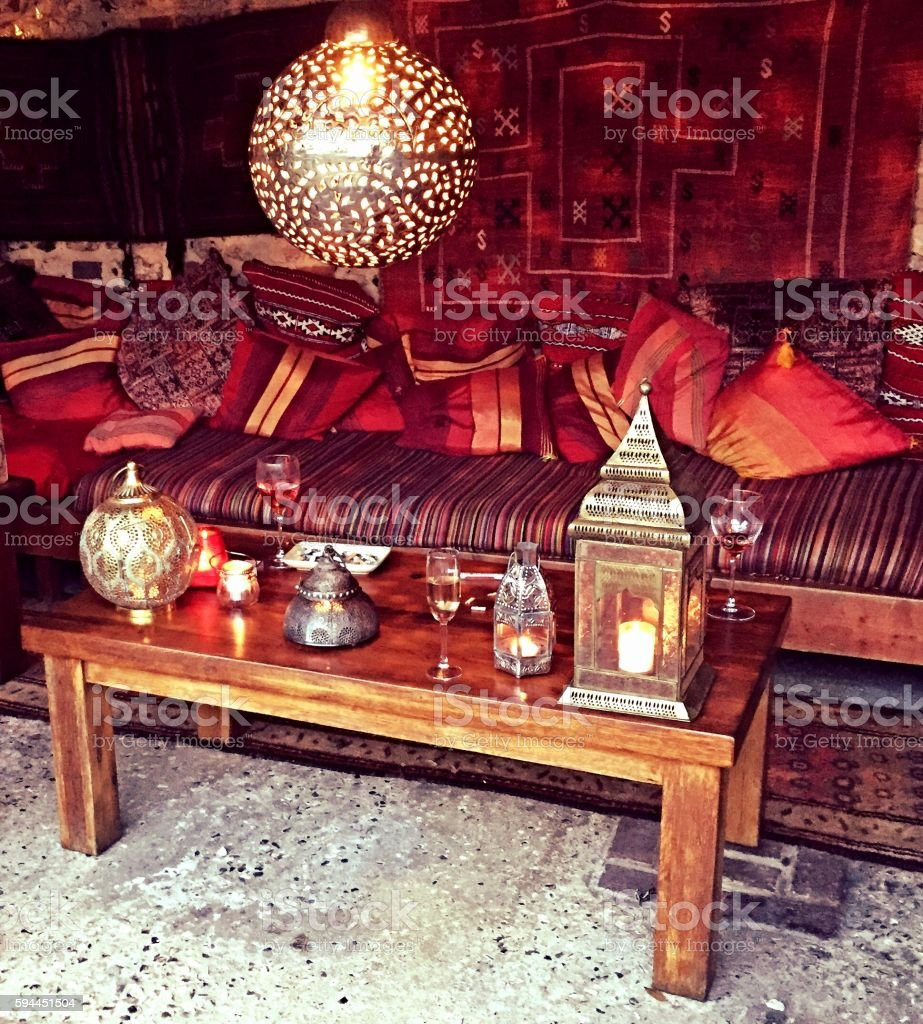 Moroccan Style Themed Seated Area stock photo
