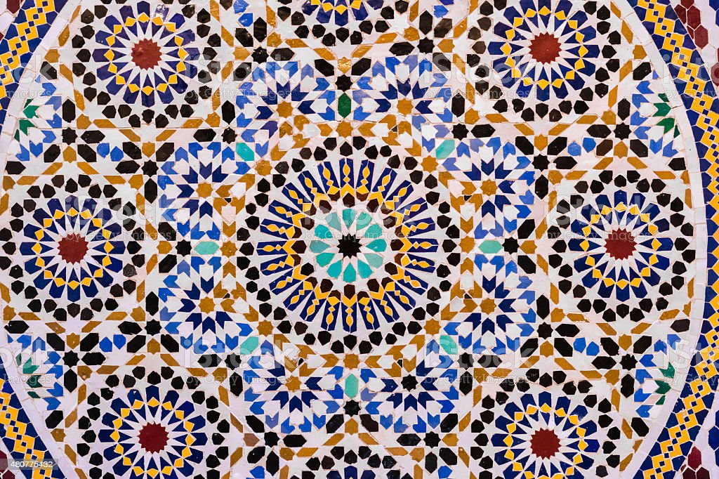 Moroccan style wall made with mosaic for background stock photo