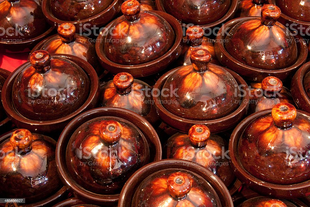 Moroccan Tagine Pots at the market of Marrakech stock photo