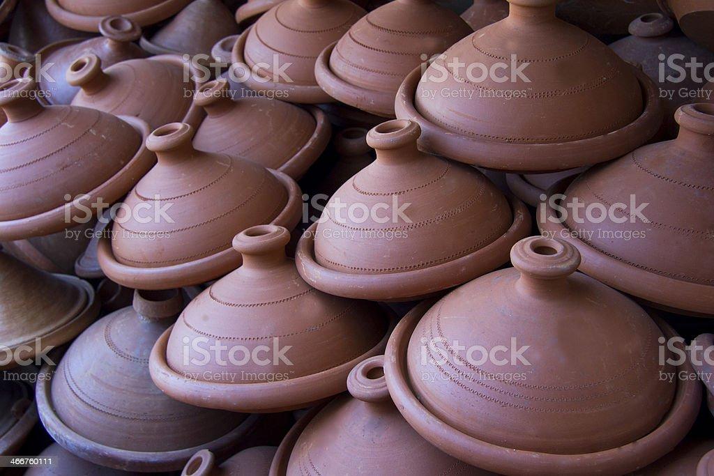 Moroccan tagine pots stock photo