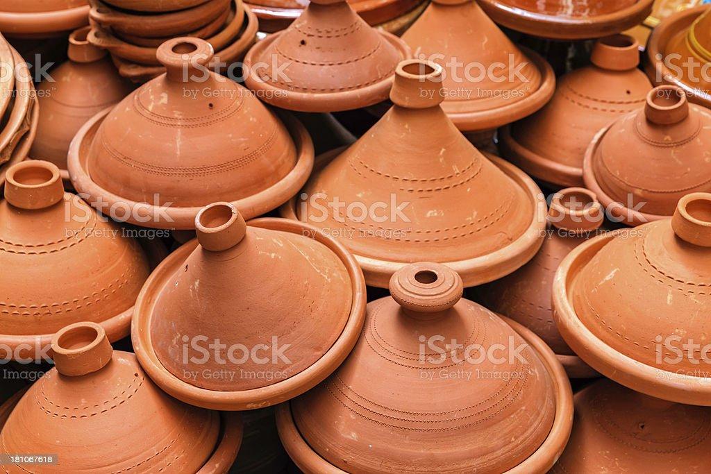Moroccan tajine pots at a souk in Marrakech royalty-free stock photo