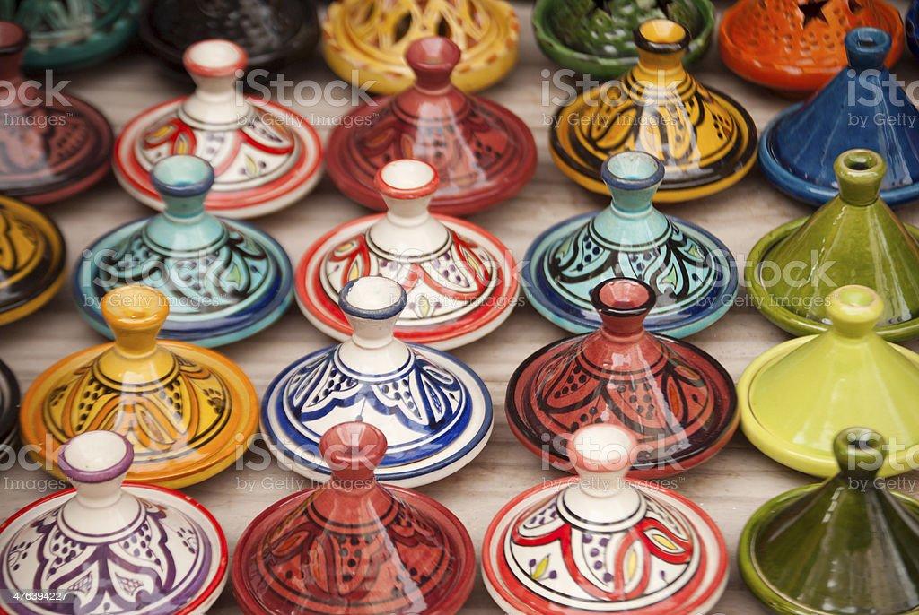 Moroccan Tajines in Marrakech royalty-free stock photo