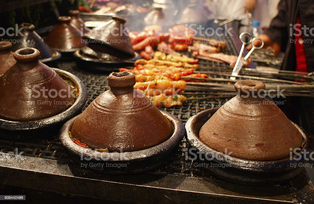 Moroccan tajines,classic dish at Marrakesh food stall stock photo