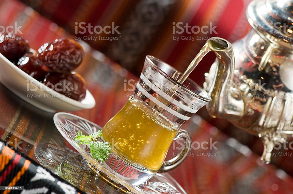 Moroccan Tea & dates stock photo