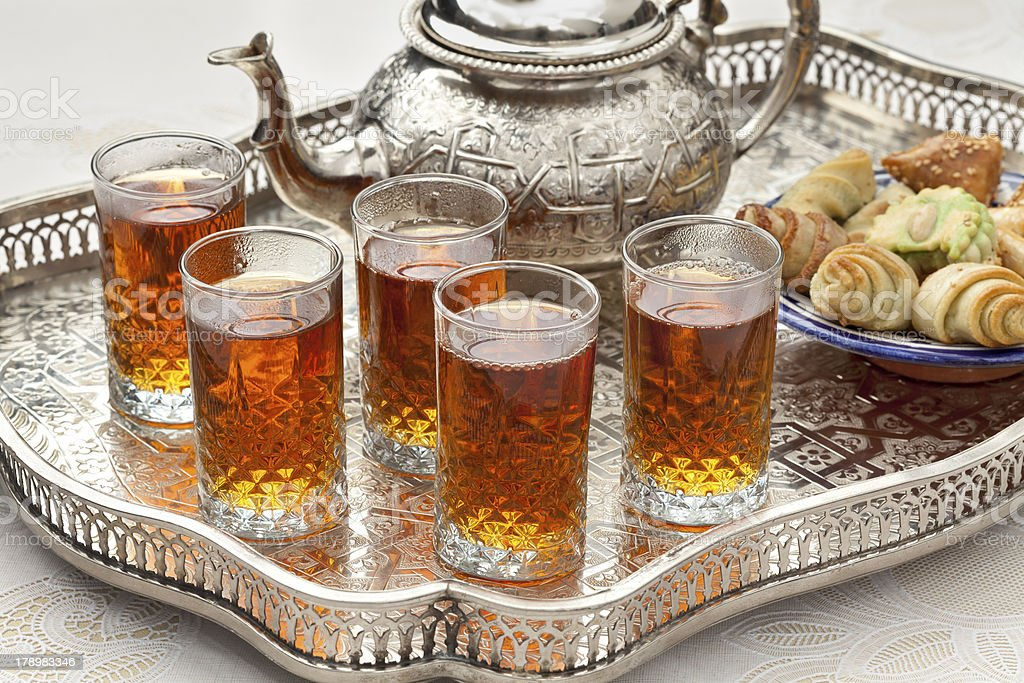 Moroccan tea with cookies stock photo