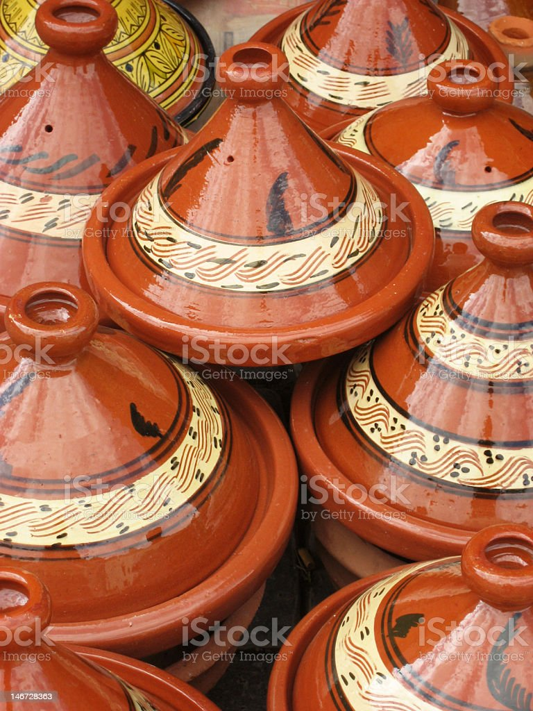 Moroccan Terracotta Cooking Tagines stock photo