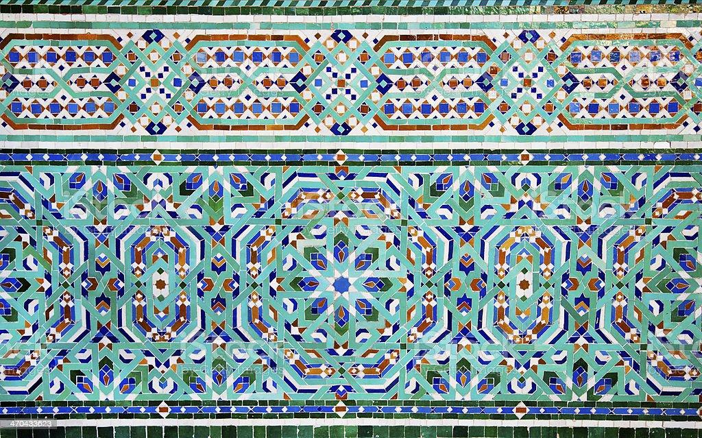 Moroccan terracotta geometrical mosaics stock photo