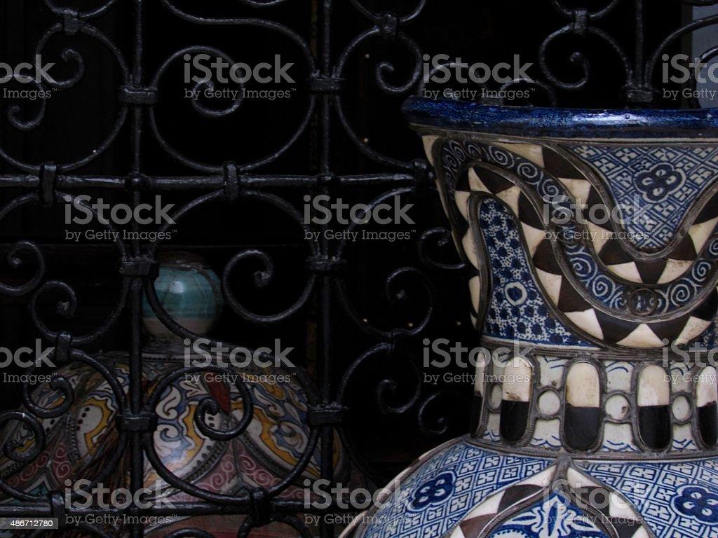 Moroccan vases in window stock photo