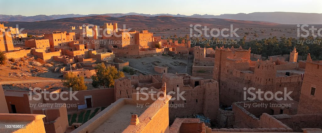 Moroccan Village at Dawn stock photo