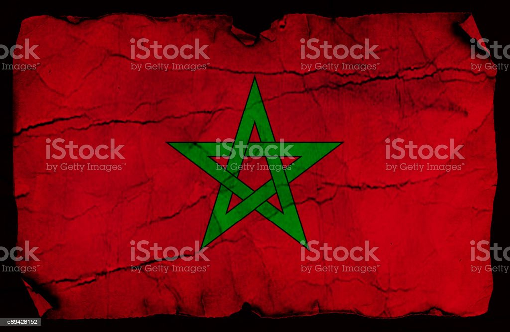 Moroccan vintage Flag stock photo