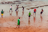 Moroccans Playing Soccer , Atlantic Coast,Morocco