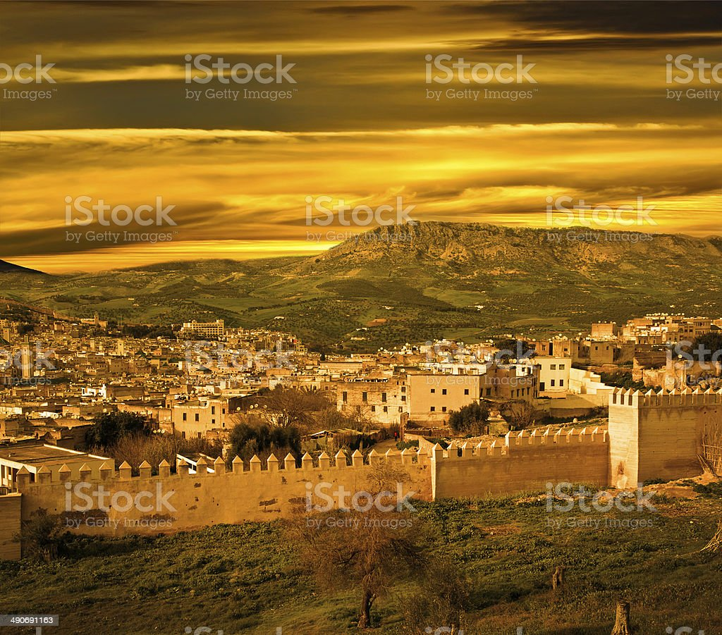 Morocco, a landscape of a city wall stock photo