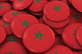 Morocco Badges Background - Pile of Moroccan Flag Buttons