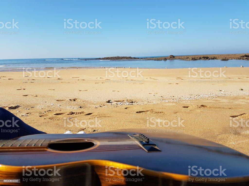 Morocco - Dahomey beach and guitar stock photo
