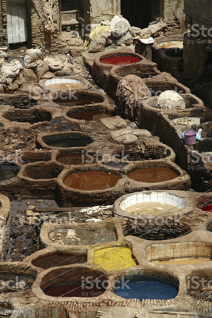 Morocco - Fez: traditional moroccan leather tanneries royalty-free stock photo