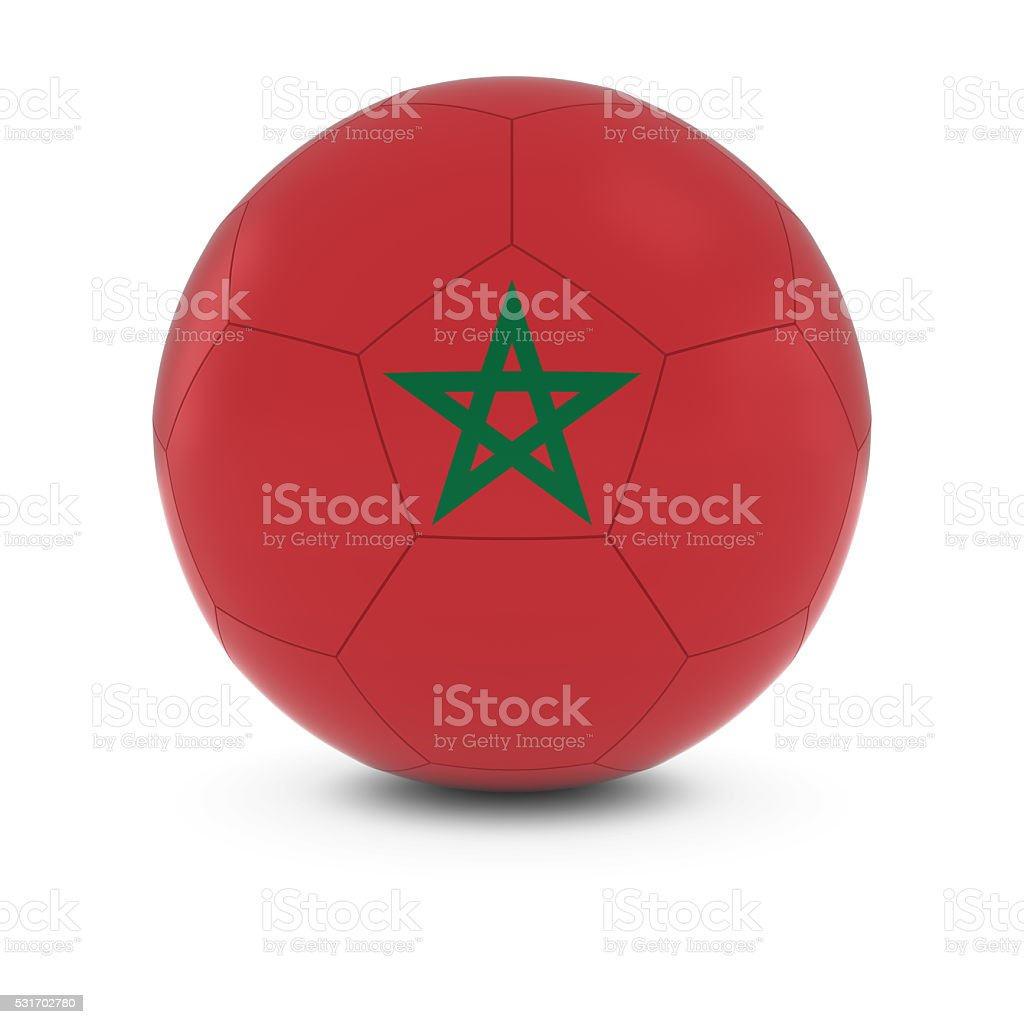 Morocco Football - Moroccan Flag on Soccer Ball stock photo