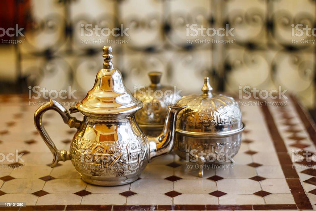 Morocco metal dishware royalty-free stock photo