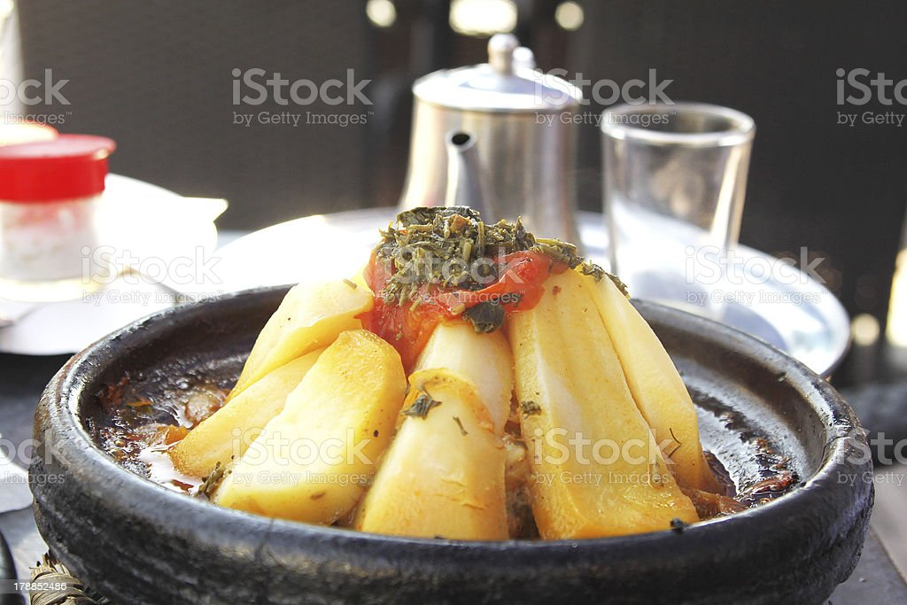 Morocco national dish - tajine of meat with vegetables royalty-free stock photo