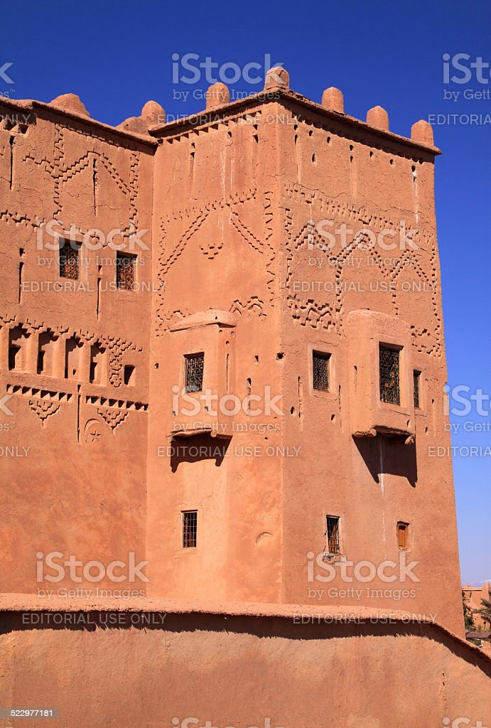 Morocco, Ouarzazate - detail of the medieval Taourirt Kasbah. stock photo