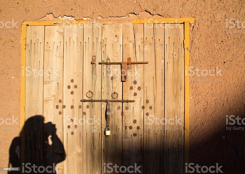 Morocco, photographer shadow. stock photo