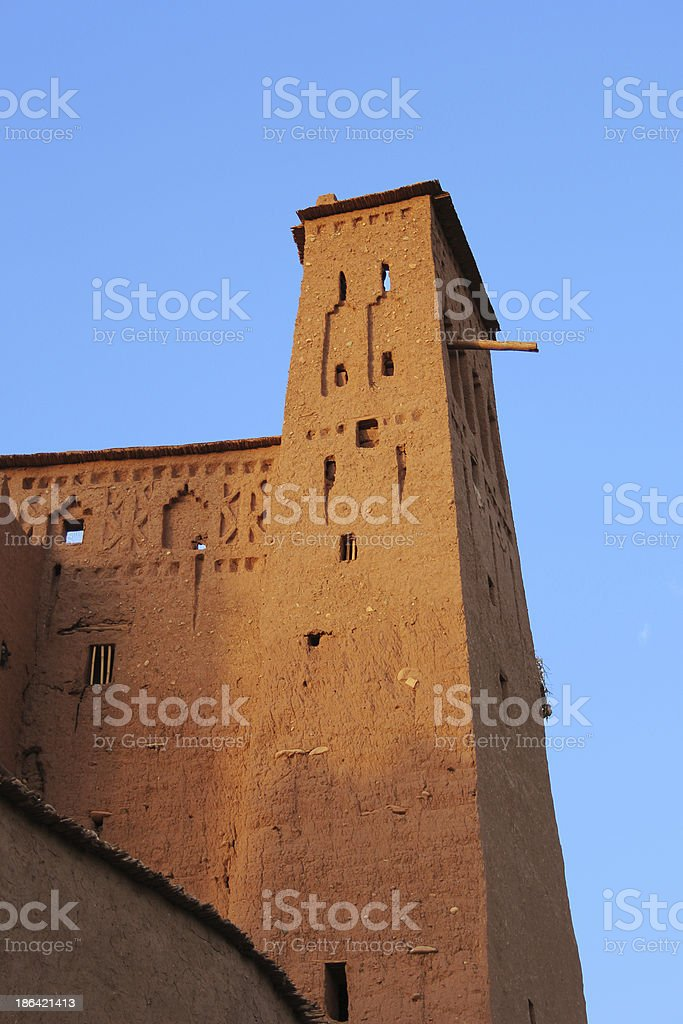 Morocco: Sunset at the old clay kasbah of A?t Benhaddou royalty-free stock photo