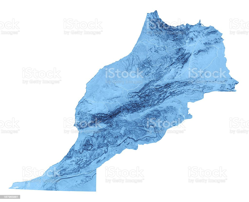 Morocco Topographic Map Isolated royalty-free stock photo