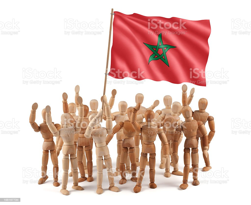 Morocco - wooden mannequin group with flag royalty-free stock photo