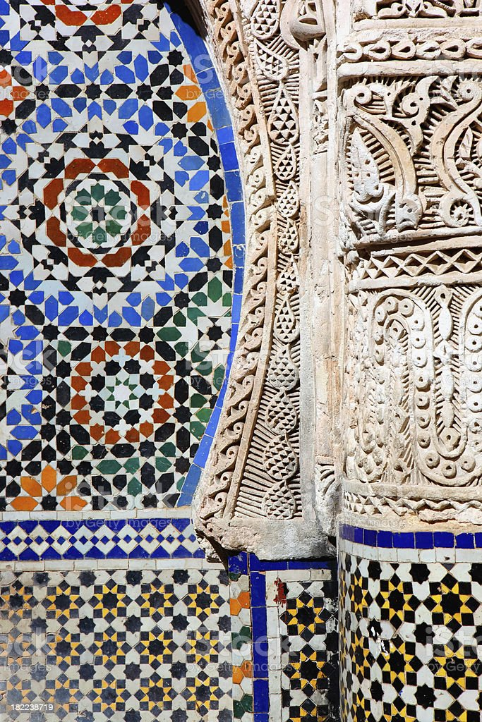 Moroccon Architecture Detail, Fez, Morocco royalty-free stock photo