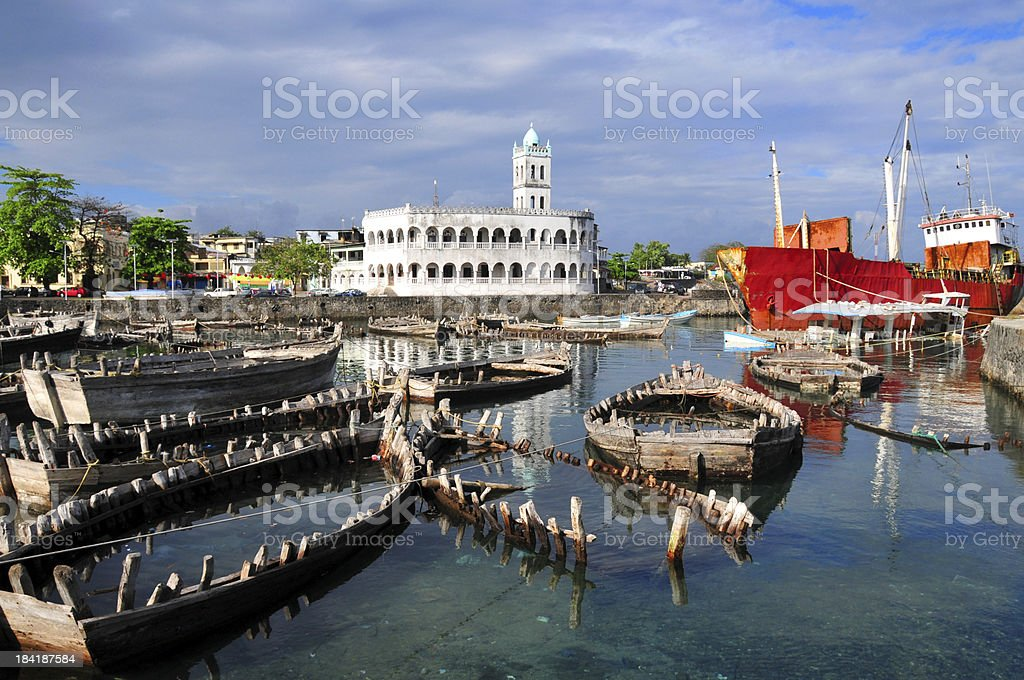 Moroni, Comoros: dhow port and the Old Friday Mosque stock photo